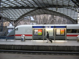 An ICE train in Koln station